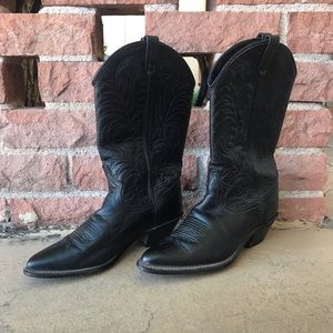 Black leather Acme cowgirl boots